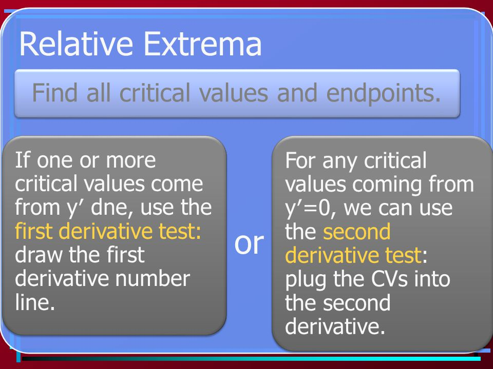 Relative Extrema or Find all critical values and endpoints.