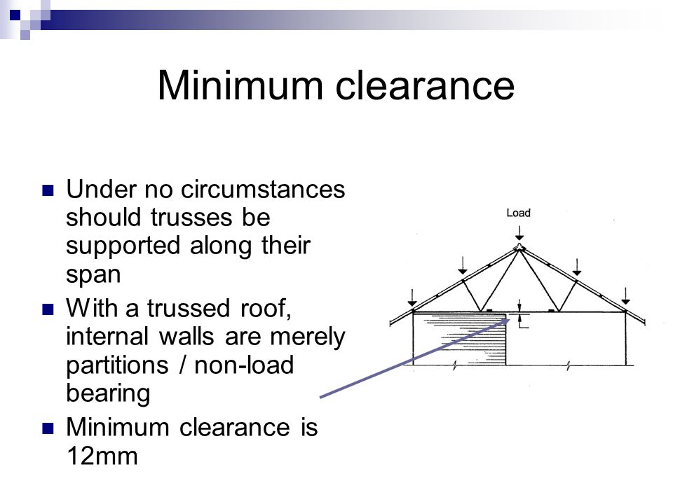 Minimum clearance Under no circumstances should trusses be supported along their span With a trussed roof, internal walls are merely partitions / non-