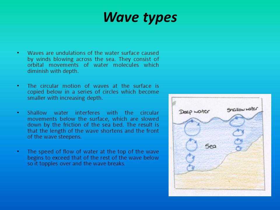 Wave types Waves are undulations of the water surface caused by winds blowing across the sea. They consist of orbital movements of water molecules whi