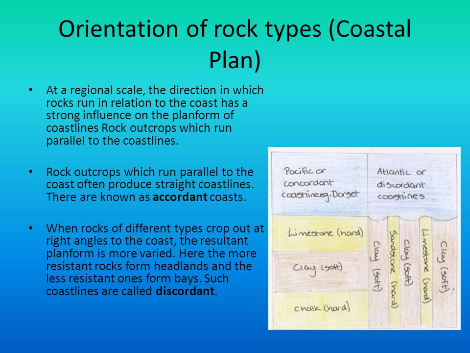 Orientation of rock types (Coastal Plan) At a regional scale, the direction in which rocks run in relation to the coast has a strong influence on the