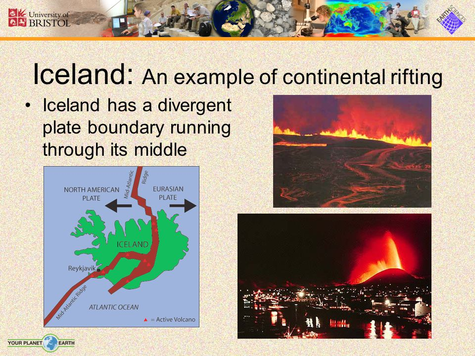 Iceland has a divergent plate boundary running through its middle Iceland: An example of continental rifting