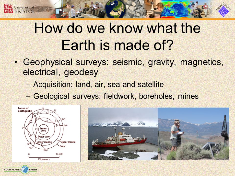 How do we know what the Earth is made of? Geophysical surveys: seismic, gravity, magnetics, electrical, geodesy –Acquisition: land, air, sea and satel