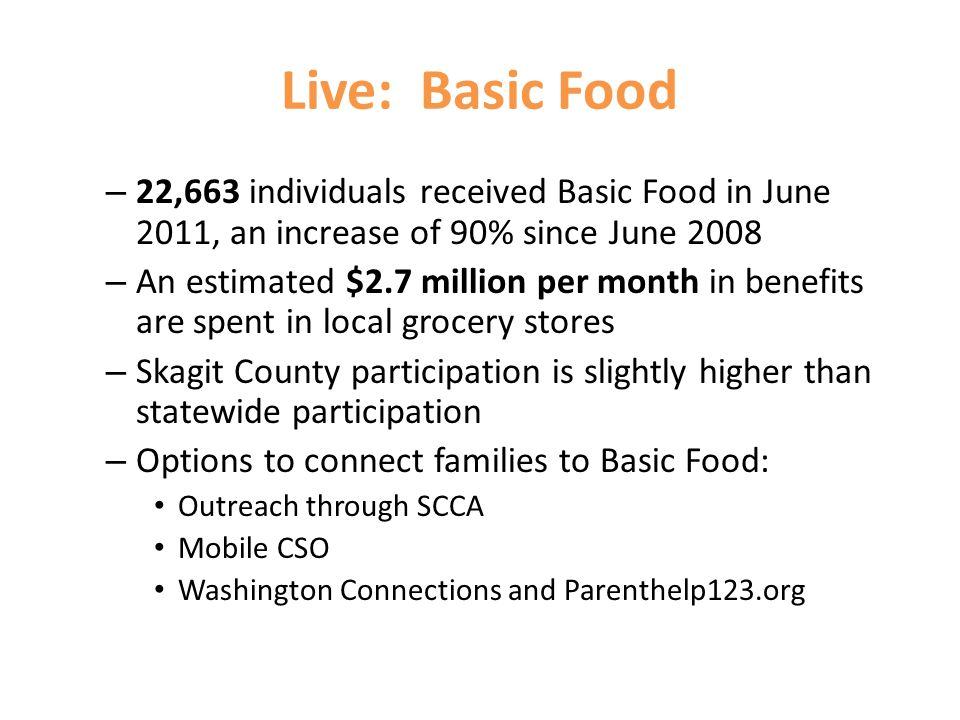 Live: Basic Food – 22,663 individuals received Basic Food in June 2011, an increase of 90% since June 2008 – An estimated $2.7 million per month in benefits are spent in local grocery stores – Skagit County participation is slightly higher than statewide participation – Options to connect families to Basic Food: Outreach through SCCA Mobile CSO Washington Connections and Parenthelp123.org