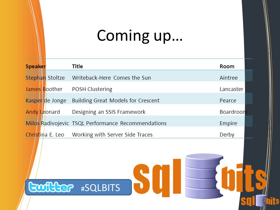 Coming up… # SQLBITS SpeakerTitleRoom Stephan StoltzeWriteback-Here Comes the SunAintree James BootherPOSH ClusteringLancaster Kasper de JongeBuilding Great Models for CrescentPearce Andy LeonardDesigning an SSIS FrameworkBoardroom Milos RadivojevicTSQL Performance RecommendationsEmpire Christina E.