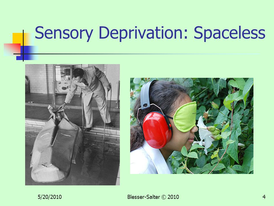 5/20/2010Blesser-Salter © 20104 Sensory Deprivation: Spaceless