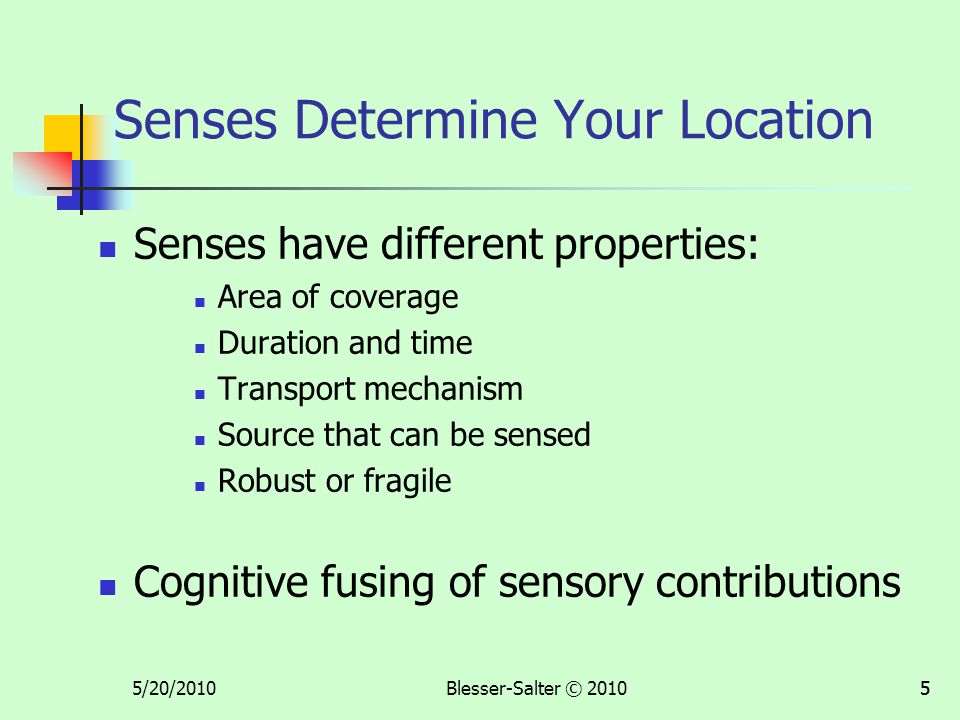 5/20/2010Blesser-Salter © 201055 Senses Determine Your Location Senses have different properties: Area of coverage Duration and time Transport mechani