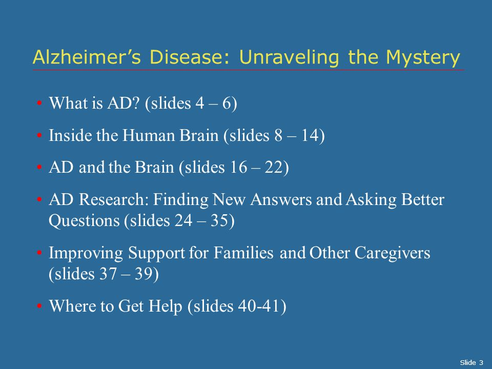 What is AD? (slides 4 – 6) Inside the Human Brain (slides 8 – 14) AD and the Brain (slides 16 – 22) AD Research: Finding New Answers and Asking Better