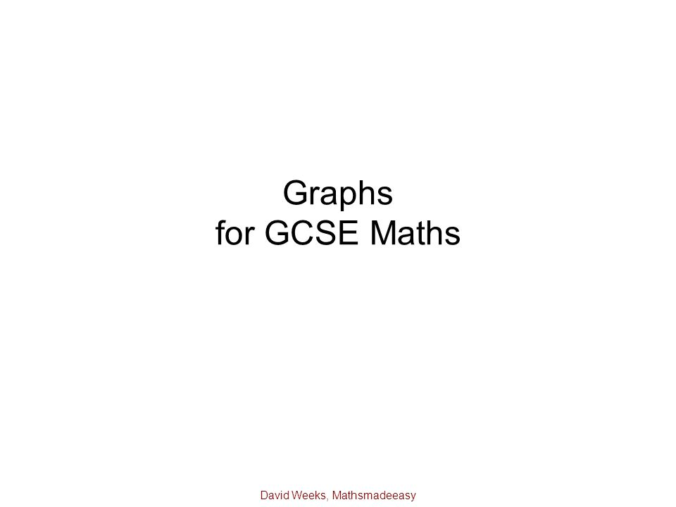 David Weeks, Mathsmadeeasy Graphs for GCSE Maths