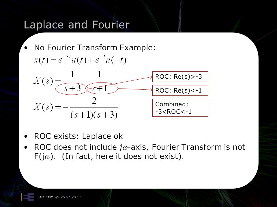 Laplace and Fourier No Fourier Transform Example: ROC exists: Laplace ok ROC does not include j-axis, Fourier Transform is not F(j). (In fact, here it