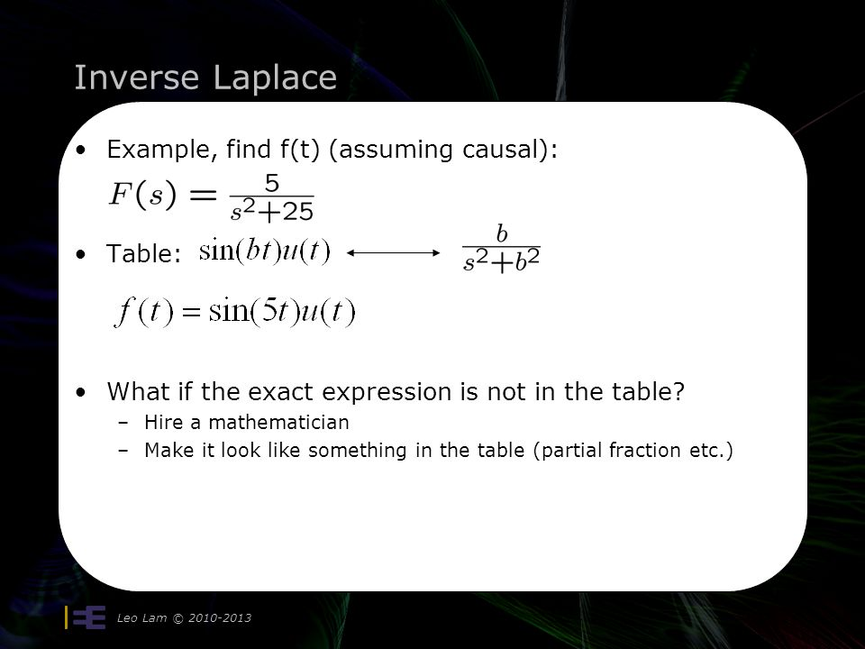 Inverse Laplace Example, find f(t) (assuming causal): Table: What if the exact expression is not in the table? –Hire a mathematician –Make it look lik
