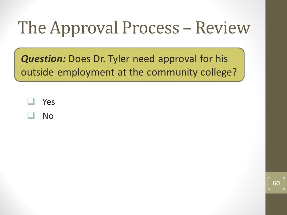 The Approval Process – Review Question: Does Dr. Tyler need approval for his outside employment at the community college? Yes No 60