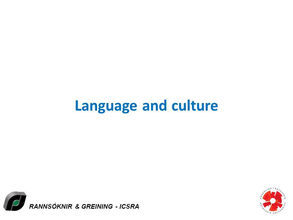 RANNSÓKNIR & GREINING - ICSRA Language and culture