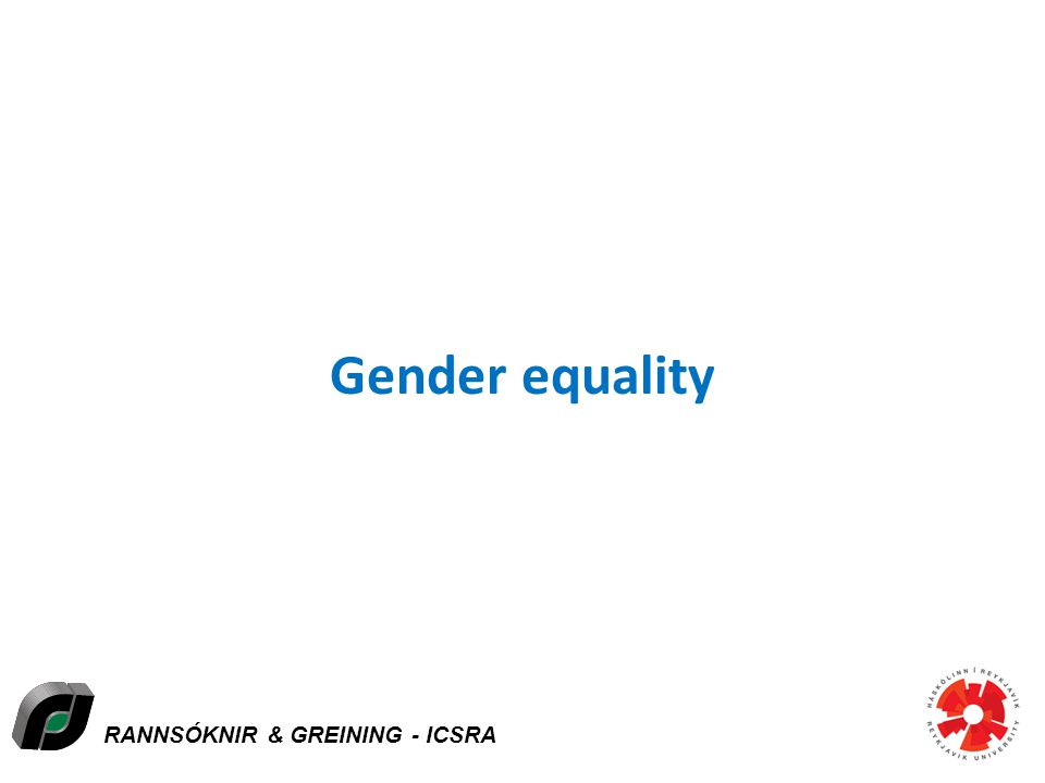 RANNSÓKNIR & GREINING - ICSRA Gender equality