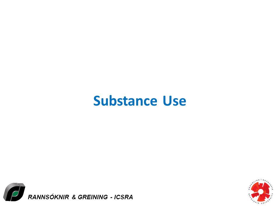 RANNSÓKNIR & GREINING - ICSRA Substance Use