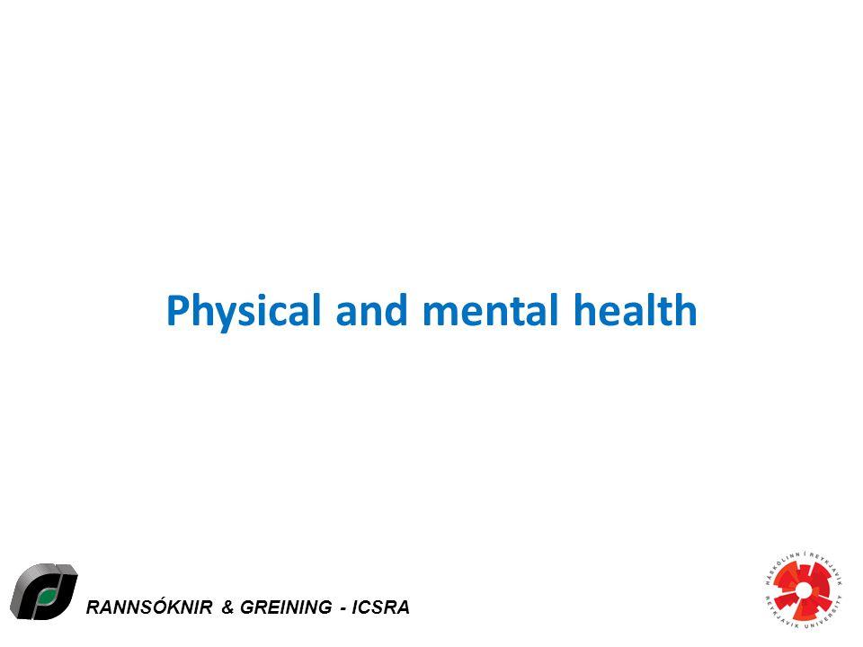 RANNSÓKNIR & GREINING - ICSRA Physical and mental health