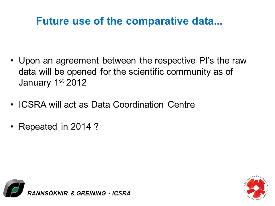RANNSÓKNIR & GREINING - ICSRA Future use of the comparative data... Upon an agreement between the respective PIs the raw data will be opened for the s