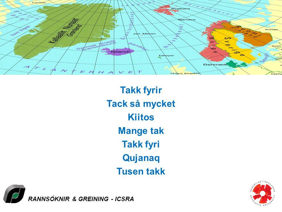 RANNSÓKNIR & GREINING - ICSRA Takk fyrir Tack så mycket Kiitos Mange tak Takk fyri Qujanaq Tusen takk Åland-Denmark-Faroe Islands-Finland-Greenland-Ic