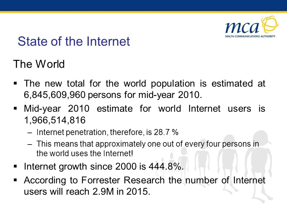 State of the Internet The World The new total for the world population is estimated at 6,845,609,960 persons for mid-year 2010.
