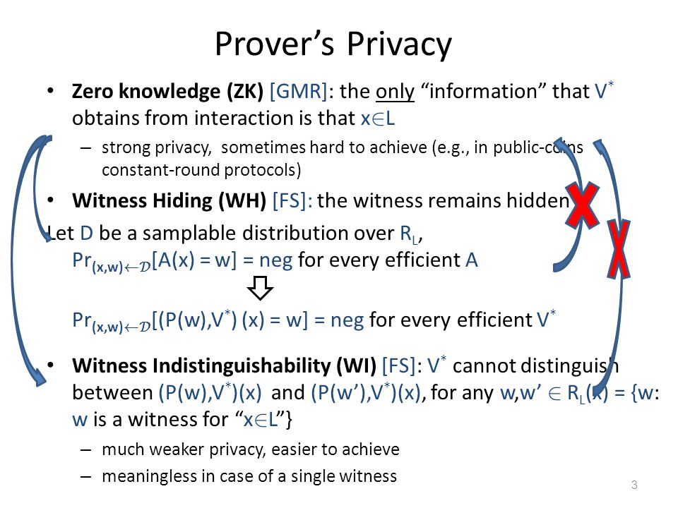 Provers Privacy Zero knowledge (ZK) [GMR]: the only information that V * obtains from interaction is that x 2 L – strong privacy, sometimes hard to ac