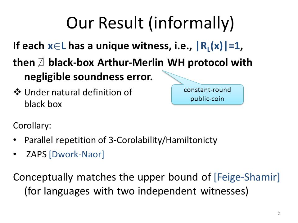 Our Result (informally) If each x 2 L has a unique witness, i.e., |R L (x)|=1, then 9 black-box Arthur-Merlin WH protocol with negligible soundness er