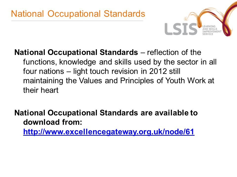 National Occupational Standards National Occupational Standards – reflection of the functions, knowledge and skills used by the sector in all four nations – light touch revision in 2012 still maintaining the Values and Principles of Youth Work at their heart National Occupational Standards are available to download from: http://www.excellencegateway.org.uk/node/61 http://www.excellencegateway.org.uk/node/61
