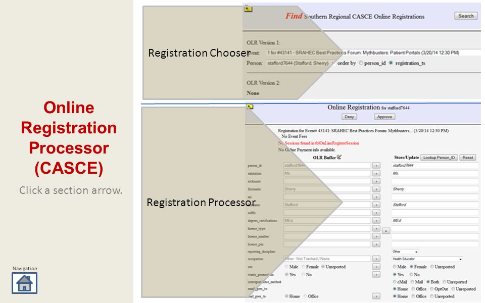 Navigation Click a section arrow. Online Registration Processor (CASCE) Registration Processor Registration Chooser