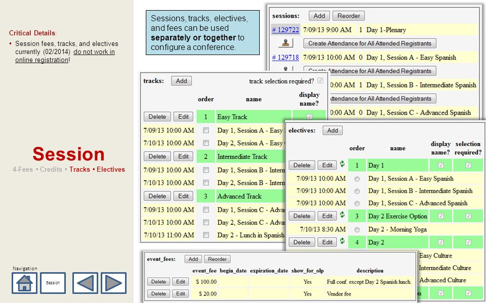 Navigation Session 4-Fees Credits Tracks Electives Critical Details: Session fees, tracks, and electives currently (02/2014) do not work in online registration.