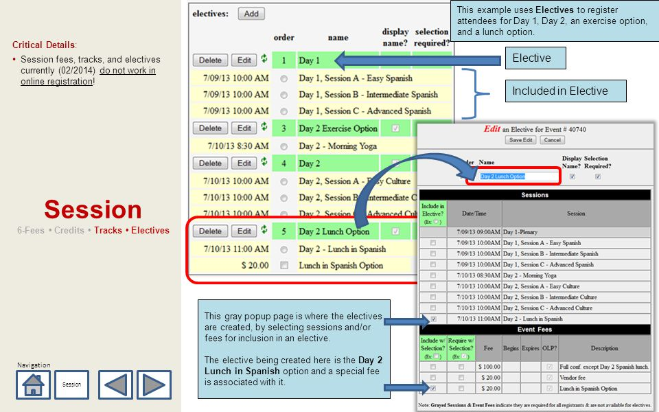 Navigation Session 6-Fees Credits Tracks Electives Critical Details: Session fees, tracks, and electives currently (02/2014) do not work in online reg