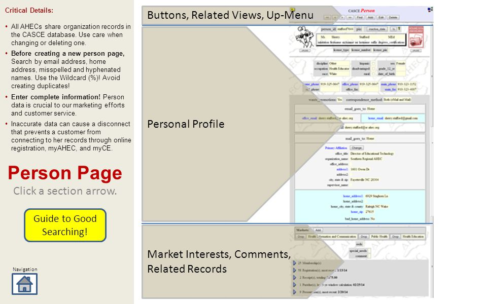 Navigation Market Interests, Comments, Related Records Buttons, Related Views, Up-Menu Click a section arrow.