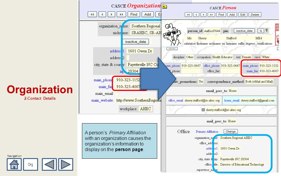 Navigation Organization 2-Contact Details Org A persons Primary Affiliation with an organization causes the organizations information to display on the person page.
