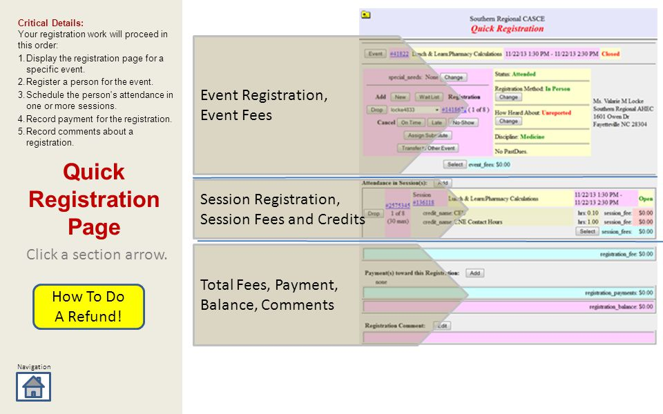 Navigation Session Registration, Session Fees and Credits Total Fees, Payment, Balance, Comments Event Registration, Event Fees Click a section arrow.
