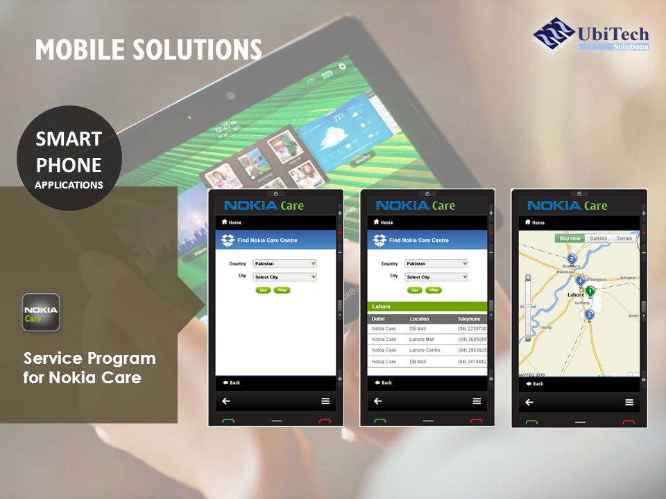 Service Program for Nokia Care SMART PHONE APPLICATIONS MOBILE SOLUTIONS