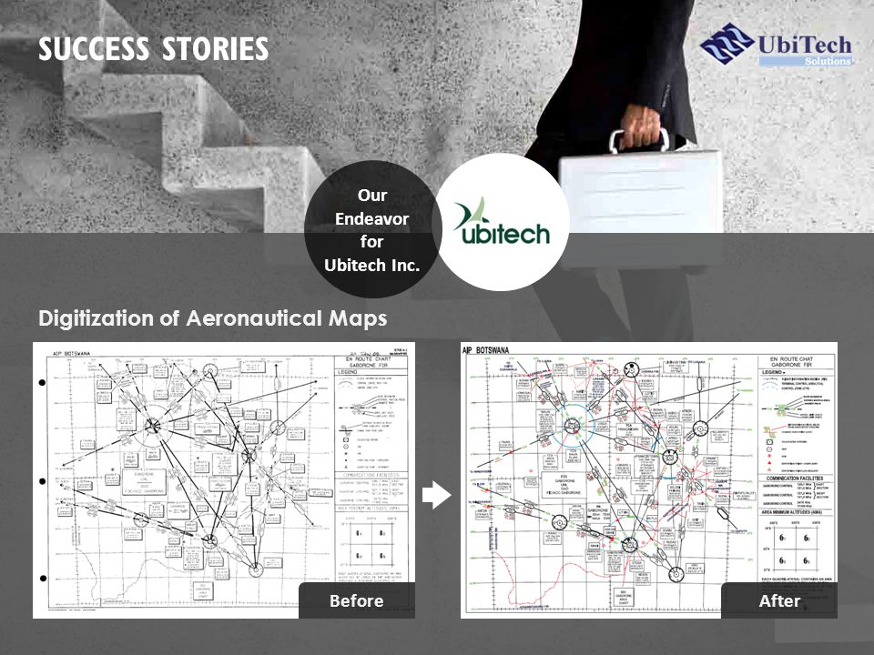 SUCCESS STORIES Digitization of Aeronautical Maps Our Endeavor for Ubitech Inc. BeforeAfter