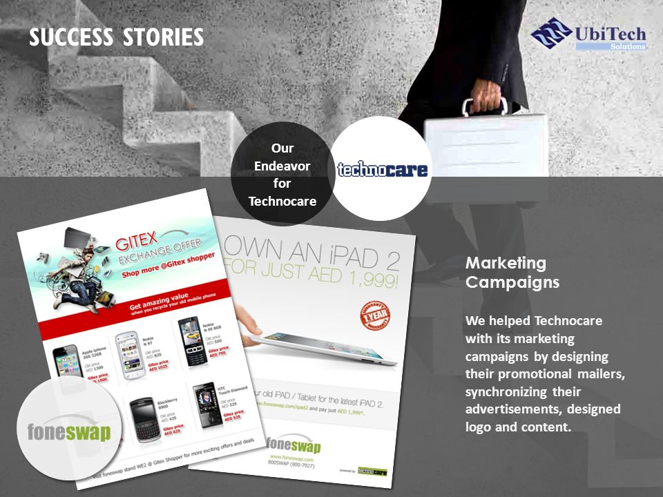 SUCCESS STORIES Marketing Campaigns We helped Technocare with its marketing campaigns by designing their promotional mailers, synchronizing their advertisements, designed logo and content.