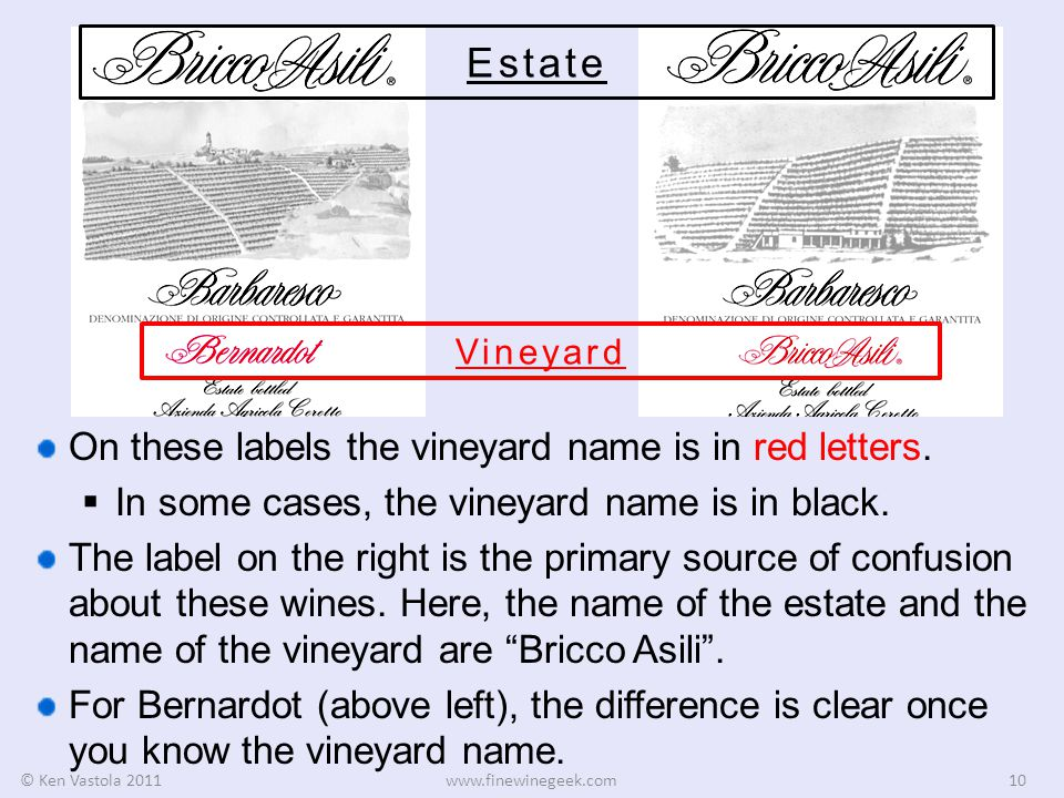 © Ken Vastola 2011www.finewinegeek.com10 Estate Vineyard On these labels the vineyard name is in red letters.