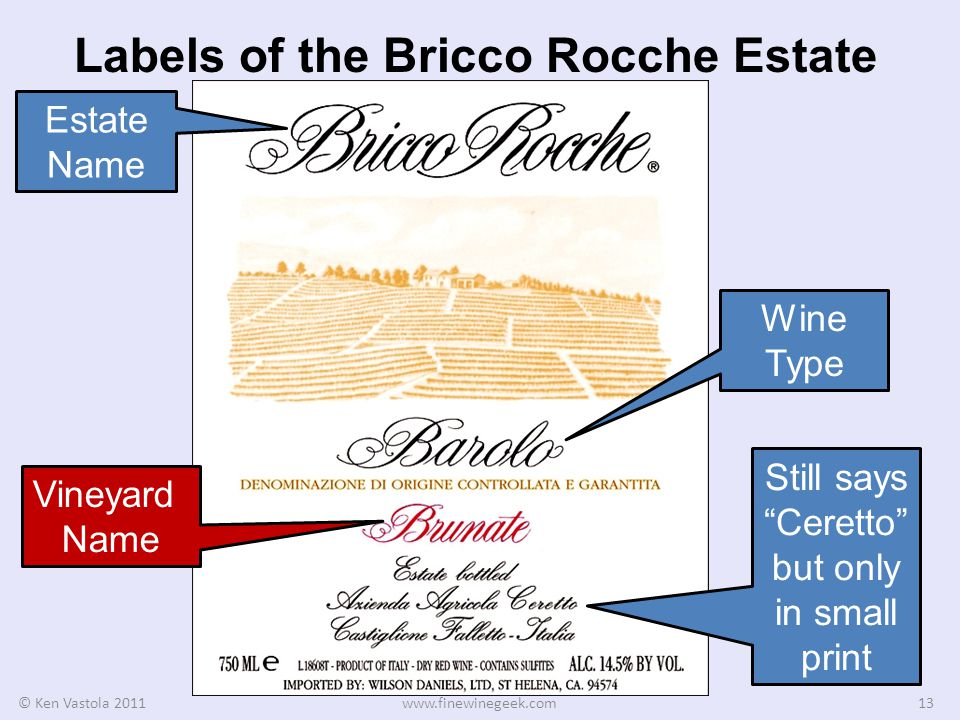 Labels of the Bricco Rocche Estate © Ken Vastola 2011www.finewinegeek.com13 Estate Name Wine Type Vineyard Name Still says Ceretto but only in small print