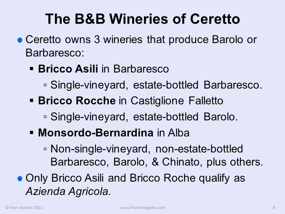 Other Wines of Monsordo-Bernardina In addition to non-single-vineyard Barolo and Barbaresco, Ceretto also uses their main facility Monsordo-Bernardina to produce Blangé Arneis.