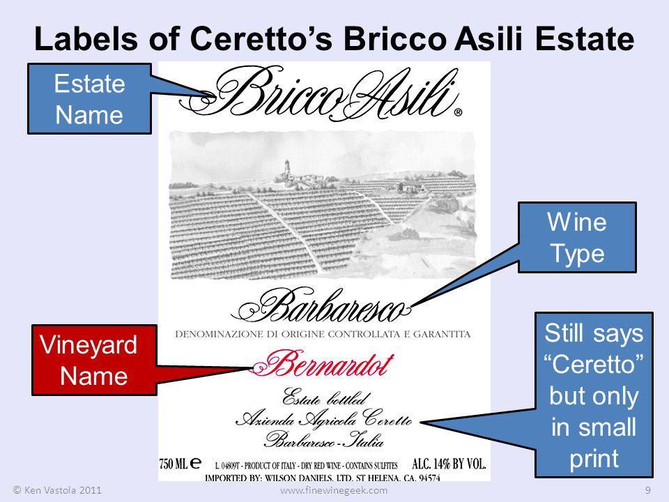 Labels of Cerettos Bricco Asili Estate © Ken Vastola 2011www.finewinegeek.com9 Estate Name Wine Type Vineyard Name Still says Ceretto but only in small print