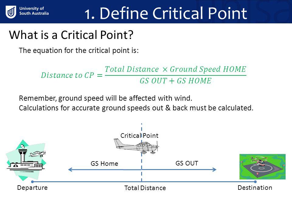 1. Define Critical Point What is a Critical Point? DestinationDeparture GS Home GS OUT Critical Point Total Distance