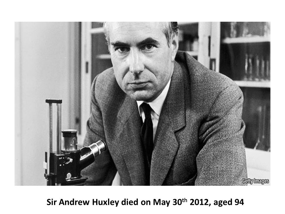 Sir Andrew Huxley died on May 30 th 2012, aged 94