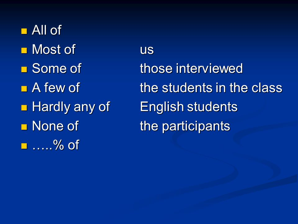 All of All of Most of us Most of us Some of those interviewed Some of those interviewed A few ofthe students in the class A few ofthe students in the