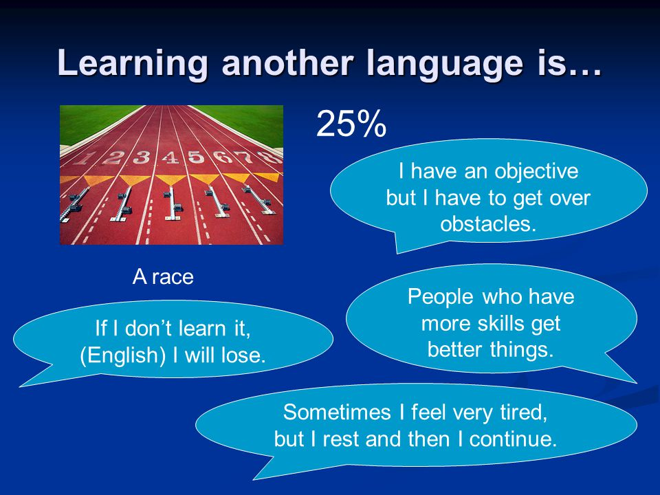 Learning another language is… A race 25% I have an objective but I have to get over obstacles. If I dont learn it, (English) I will lose. Sometimes I