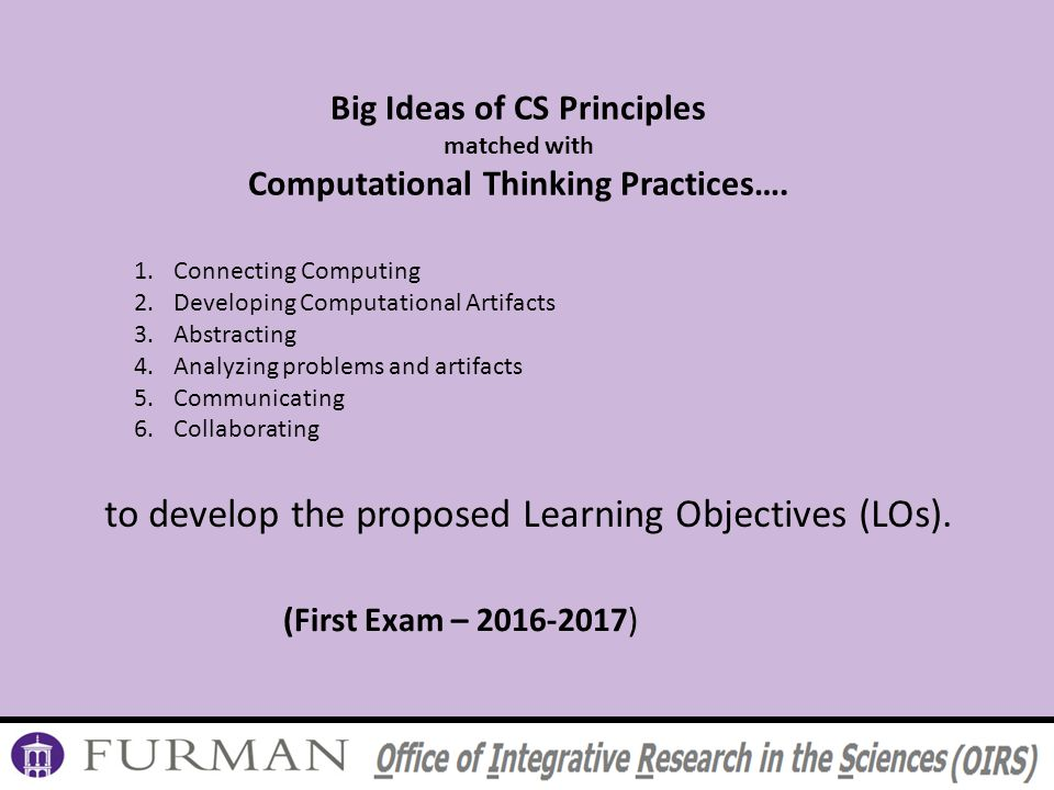 Big Ideas of CS Principles matched with Computational Thinking Practices….