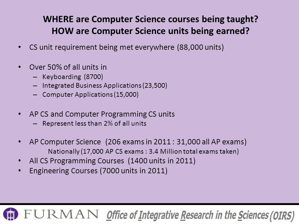 WHERE are Computer Science courses being taught. HOW are Computer Science units being earned.