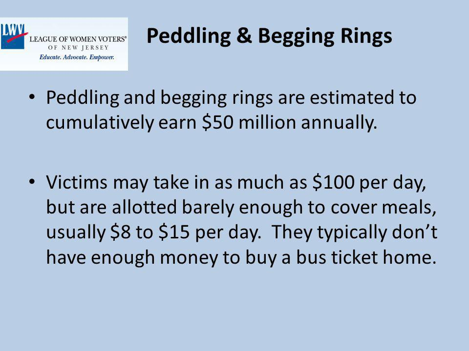 Peddling & Begging Rings Peddling and begging rings are estimated to cumulatively earn $50 million annually.
