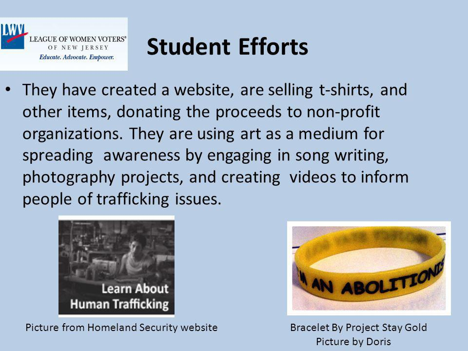 Student Efforts They have created a website, are selling t-shirts, and other items, donating the proceeds to non-profit organizations.