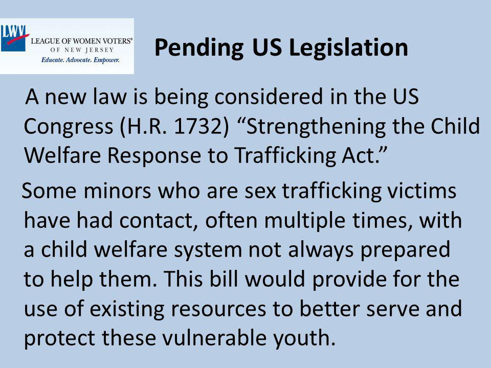 Pending US Legislation A new law is being considered in the US Congress (H.R.