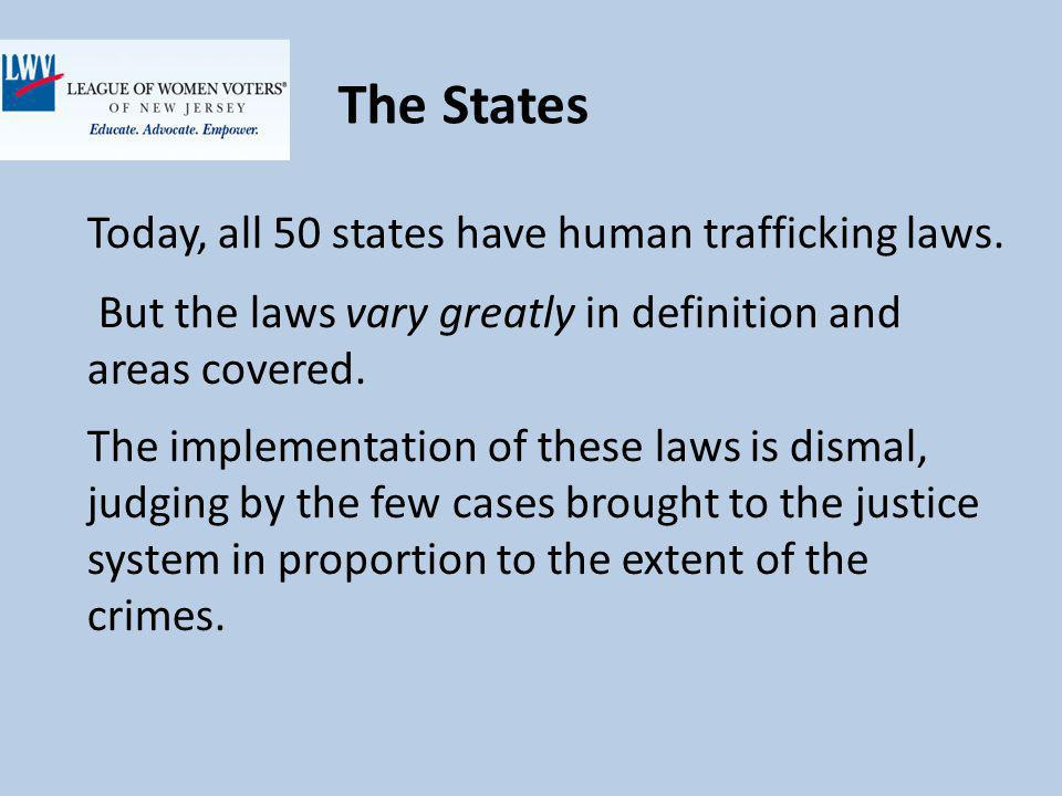 The States Today, all 50 states have human trafficking laws.