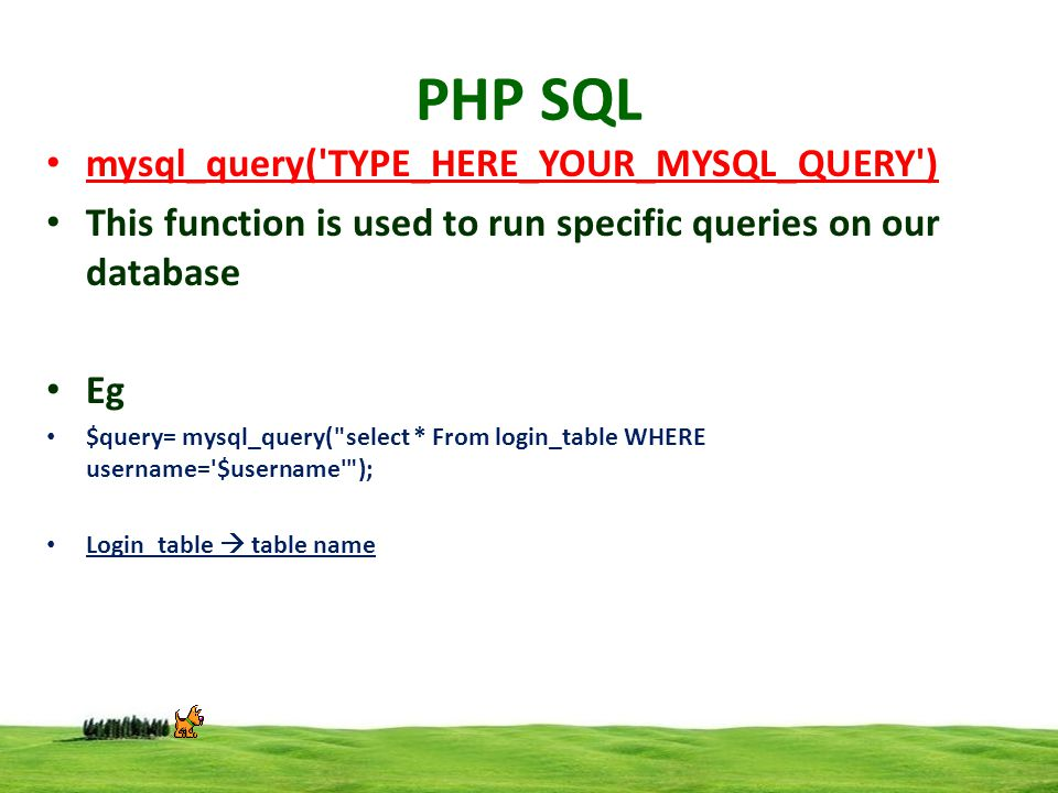 PHP SQL mysql_query('TYPE_HERE_YOUR_MYSQL_QUERY') This function is used to run specific queries on our database Eg $query= mysql_query(