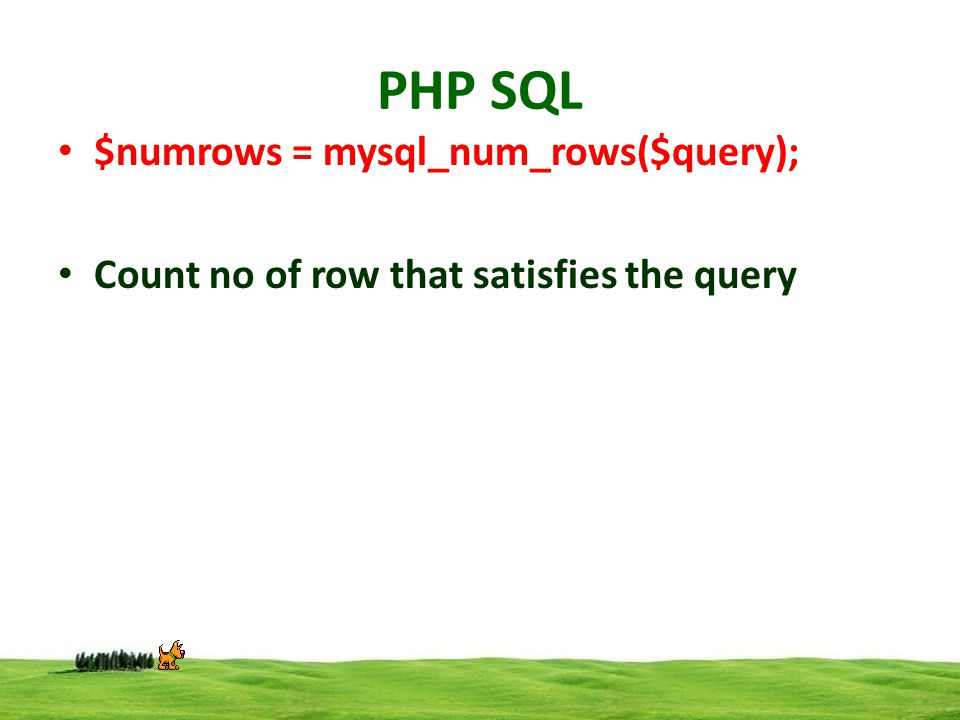 PHP SQL $numrows = mysql_num_rows($query); Count no of row that satisfies the query